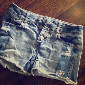 Ripped short shorts button-fly